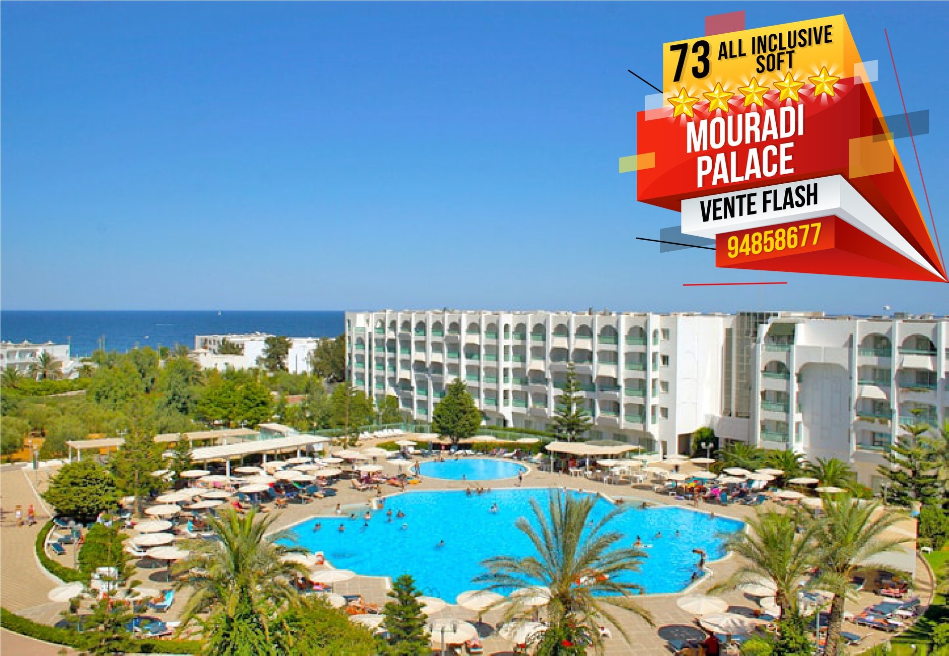 ⏰🎉 VENTE FLASH 🎊📢 🎆 Hôtel Mouradi Palace 5 * ⭐⭐⭐⭐⭐ -Port Kantaoui Sousse-